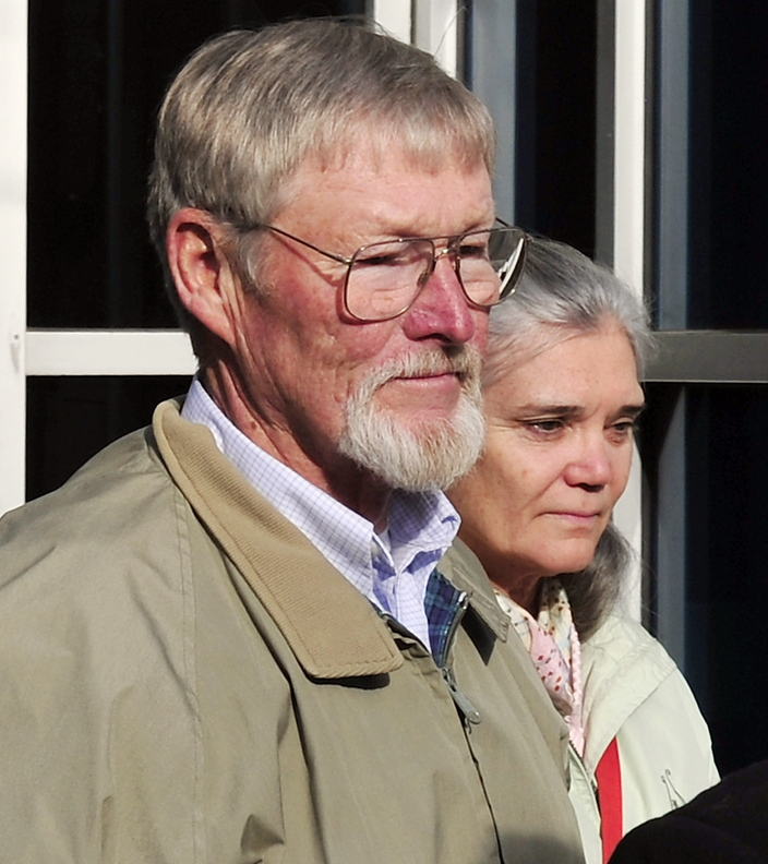 Merrill Kimball of Yarmouth and his wife, Karen Thurlow-Kimball, leave the courthouse Thursday after he was arraigned in Cumberland County Unified Criminal Court for shooting and killing Leon Kelley of Georgetown. He is out on bail until his trial.