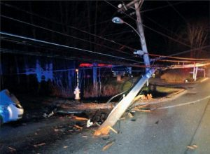 AN ALNA MAN was taken to a Brunswick hospital Tuesday night after crashing his car into a utility pole on Route 196 at Ivanhoe Drive.