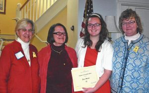 "ELOISE MELCHER, second from right, receives an Oustanding Student Merit Award from the P.E.O. Sisterhood, a philanthropic organization for women with a chapter in Brunswick. Melcher, of Bowdoin, is a Colby College freshman who made ""outstanding contributions to her community while a student at Mt. Ararat"" in Topsham, according to the group. Pictured from left are Karen Hill, program chairwoman; President Ann Glass; Melcher; and her mother, Carolyn Melcher."