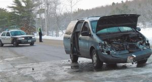A MINIVAN BURST INTO FLAME after it struck the rear end of pickup truck on Gurnet Road shortly before 7 a.m. Thursday. The van was demolished and the truck sustained moderate damage but was able to drive away from the scene. No injuries were reported. Both vehicles were headed north on Gurnet Road by Coombs Road when the minivan's driver, 20-year-old Emma Wood of Harpswell, failed to stop in time for traffic ahead of her. No charges are pending.