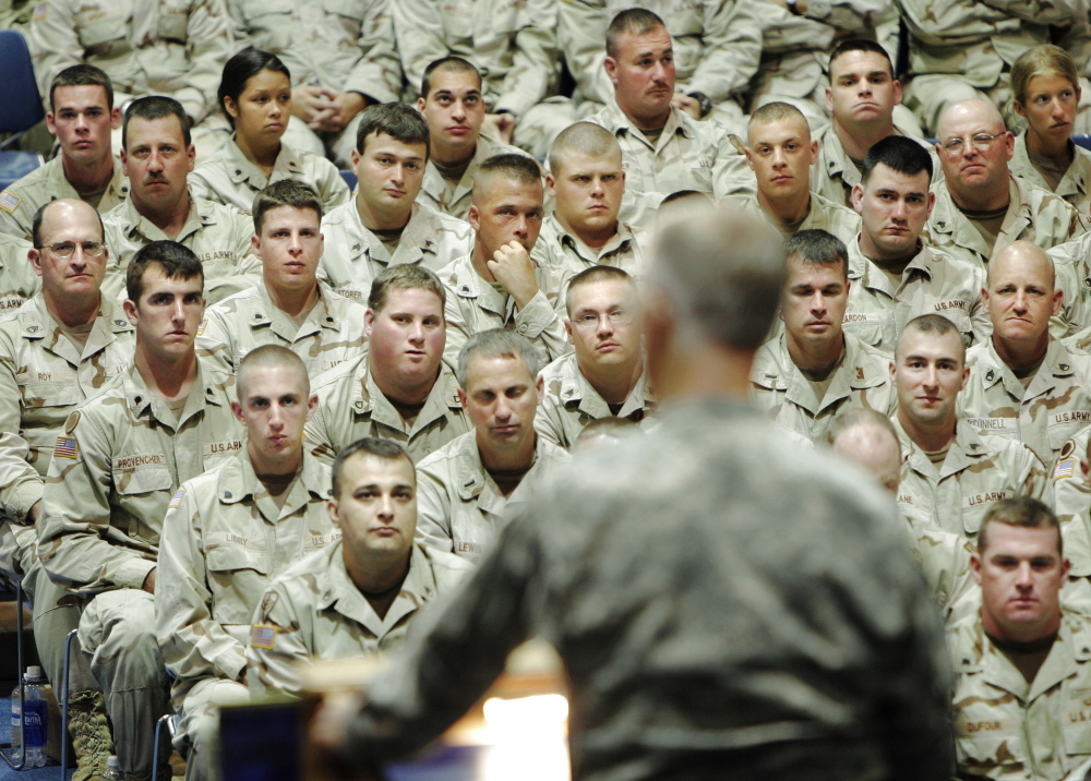 In this July 2005 file photo, soldiers from Company C, 133rd Engineer Battalion of the Maine Army National Guard listen to Gen. John Libby speak during a freedom salute ceremony at the Augusta Civic Center. The adjutant general of the Maine Army National Guard is scheduled to meet with Gov. Paul LePage this week amid a controversy over plans to swap Maine's 133rd Engineer Battalion for an infantry unit from another state.