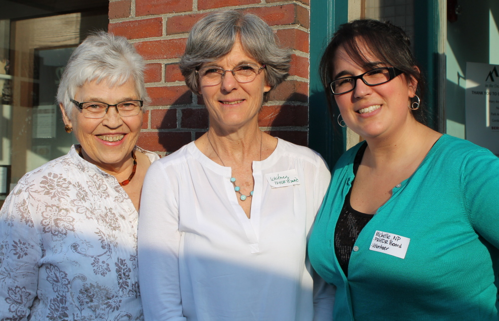 Anne Keith, left, trip founder, with Whitney Lutz, USM faculty member and board president, and Michelle Stirling, fundraising chair for Partners for Rural Health in the Dominican Republic, outside Eventide Oyster Co. in Portland