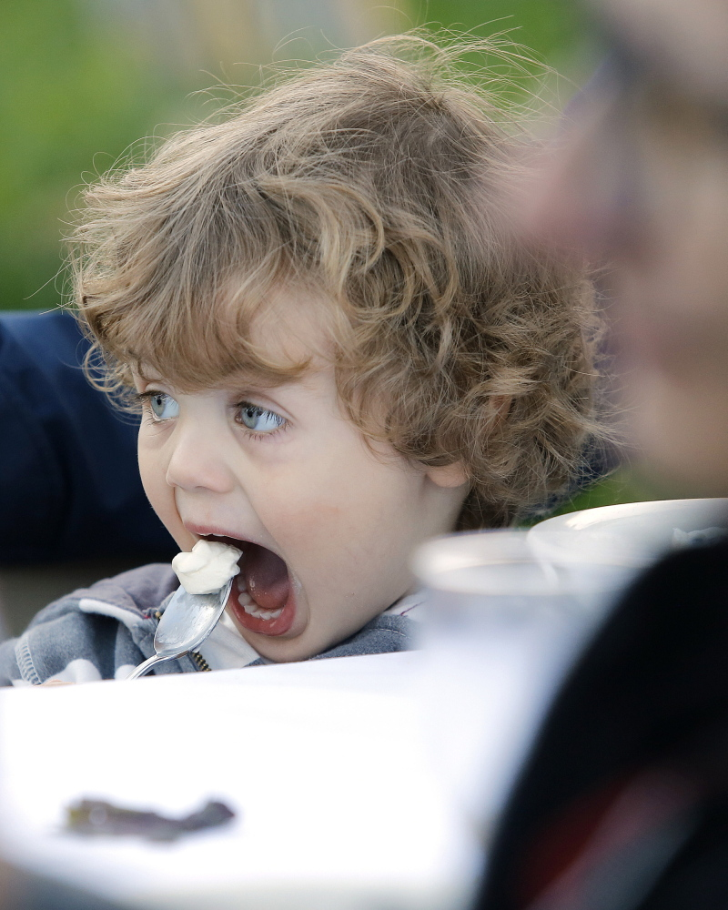 """Marek Osucha-Middleton, 2, of Lewiston digs into some dessert during a """"performative dinner"""" at Nezinscot Farm."""