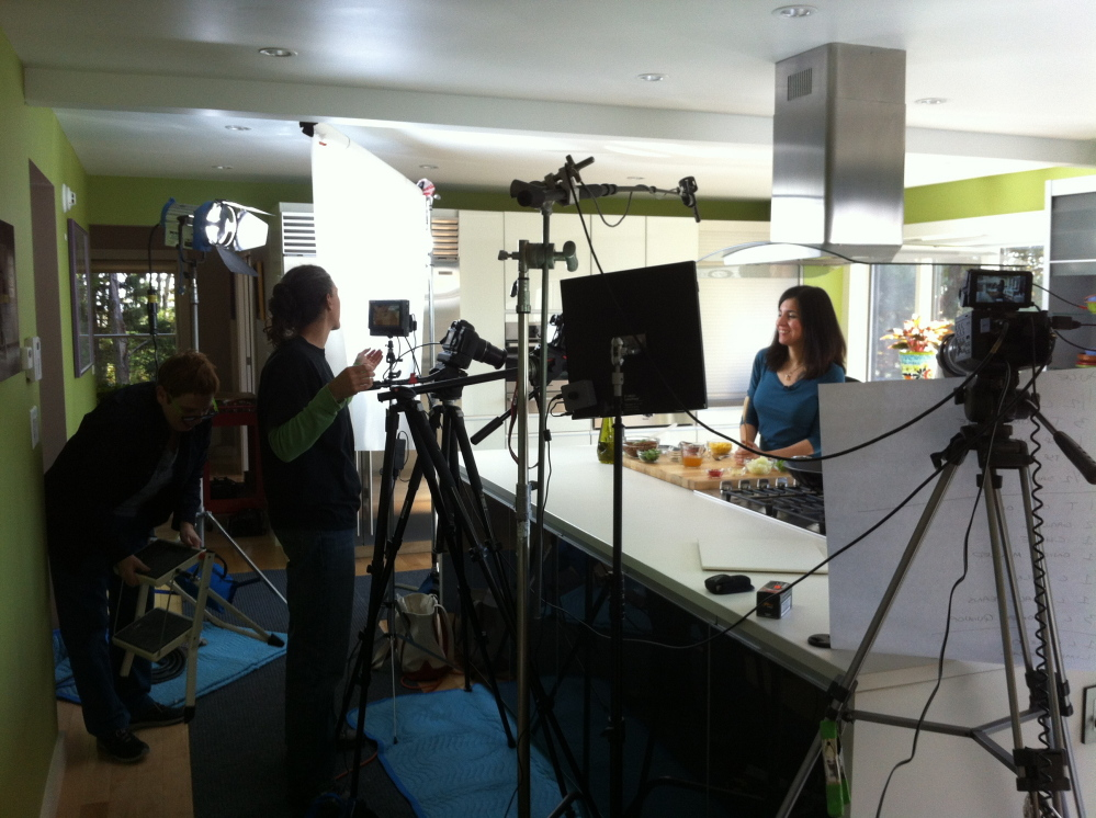 """Chef Terry Hope Romero smiles for the camera while filming season two of """"Vegan Mashup."""" Courtesy of Delicious TV"""