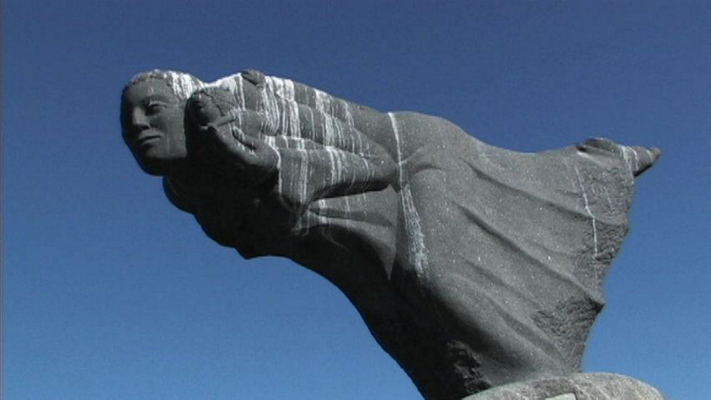 """Detail of Lyford's """"My Mother the Wind,"""" which was installed on Four Tree Island in Portsmouth, N.H., in 1975."""