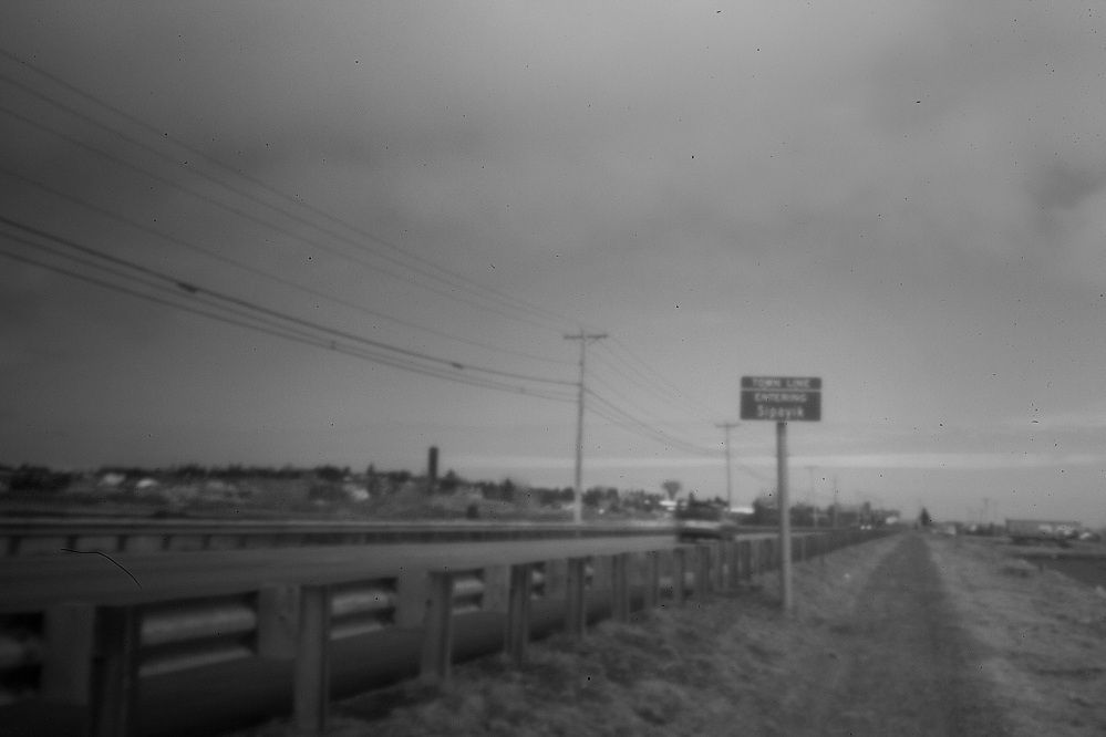 PLEASANT POINT, ME - APRIL 30: The stretch of road entering Pleasant Point Indian Reservation is seen early in the morning in this pinhole image Wednesday, April 30, 2014. (Photo by Gabe Souza/Staff Photographer))
