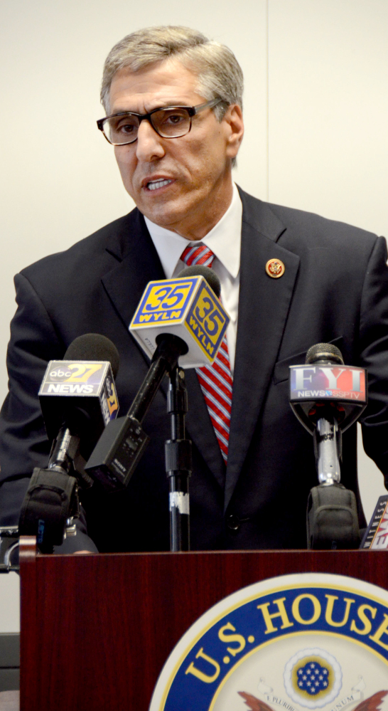 U.S. Rep. Lou Barletta, R-Pa., talks about unaccompanied children apprehended entering the U.S. during a news conference Monday in Hazleton, R-Pa.