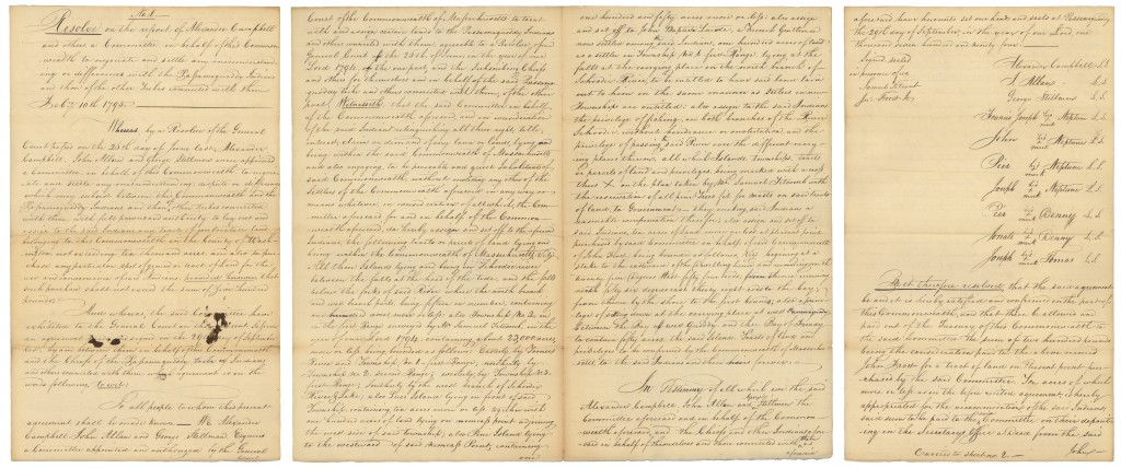937711 February 10, 1795, Resolve on report of Alexander Campbell to negociate& settle any misunderstanding or differences with the Passamaquoddy Tribe of Indians
