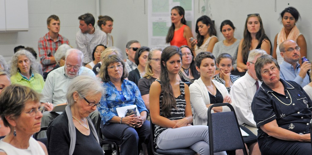 People who packed a public hearing in Augusta on Tuesday listen to testimony on a citizen-initiated proposal for the Department of Environmental Protection to add four types of phthalates to a high-priority list of chemicals regulated under Maine's Kid-Safe Products Act