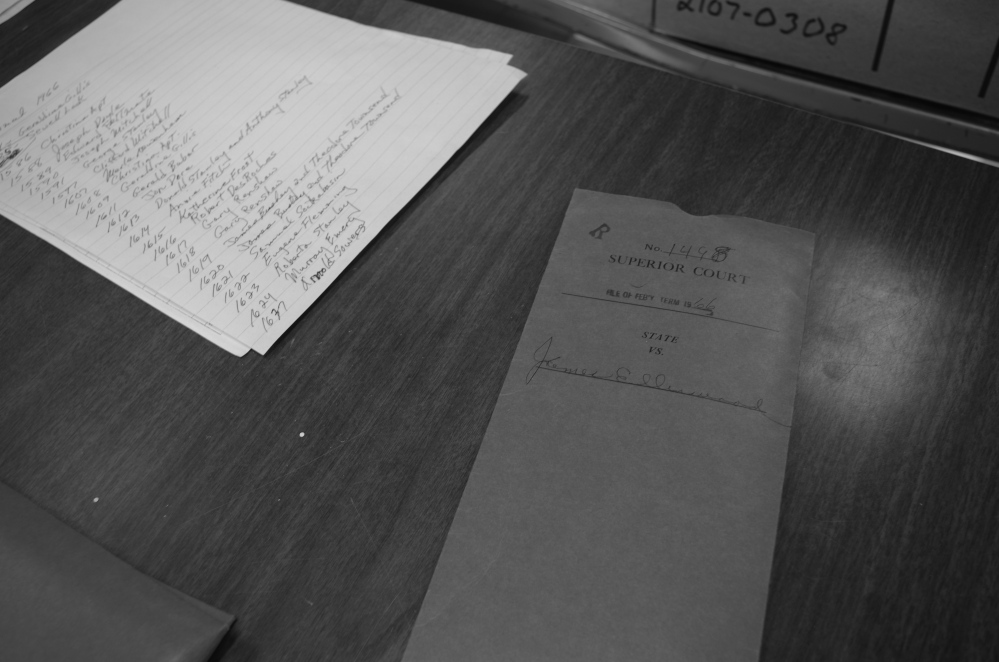 Very little remains in the files for the case of State v. James Ellinwood, which were purged before being transferred from Machias to the Maine State Archives. Even the formal judgment has not survived.