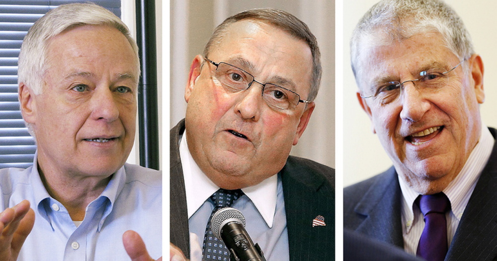 The three candidates squaring off for Maine governor. from left: Democratic U.S. Rep. Mike Michaud, Republican Gov. Paul LePage and independent Eliot Cutler.