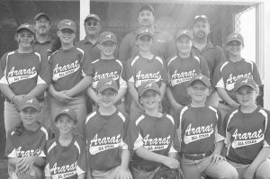 THE ARARAT U10 softball team has advanced to tonight's tournament championship game at Richmond, with first pitch scheduled for 5:30 p.m. Ararat is undefeated in the tournament. The coaches are Brian Reed, Ron Huston, Jamie Magno and Shannon Tribbett. The players (top row, left to right) Hannah Huston, Jayden Lohr, Meghan Reed, Eliza Libby, Lauren Magno, Jaimey Leighman Weidner; bottom row Gabrielle West, Nicole Tribbett, Bre Shea, Devan Wenger, Ema Hawkes and Bre Hunter.