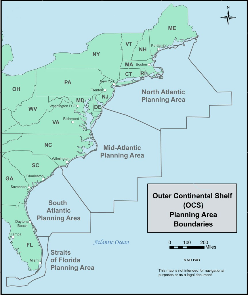 The Bureau of Ocean Energy Management estimates that 4.72 billion barrels of recoverable oil and 37.51 trillion cubic feet of recoverable natural gas lies beneath federal waters from Florida to Maine. The north Atlantic area will continue to remain closed to exploration for the time being, but President Obama has approved exploration in the tmid-Atlantic and south Atlantic zones.