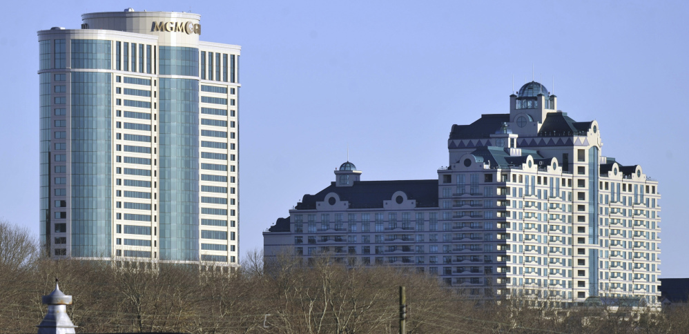 The Mashantucket Pequot tribe said it had to review its options with senior lenders as a slump continues to batter the income at the Foxwoods Resort Casino. To reduce debt, the tribe sold off 371 acres of mostly vacant land in North Stonington, Conn., in July 2014, and is looking to shed land holding in additional towns.