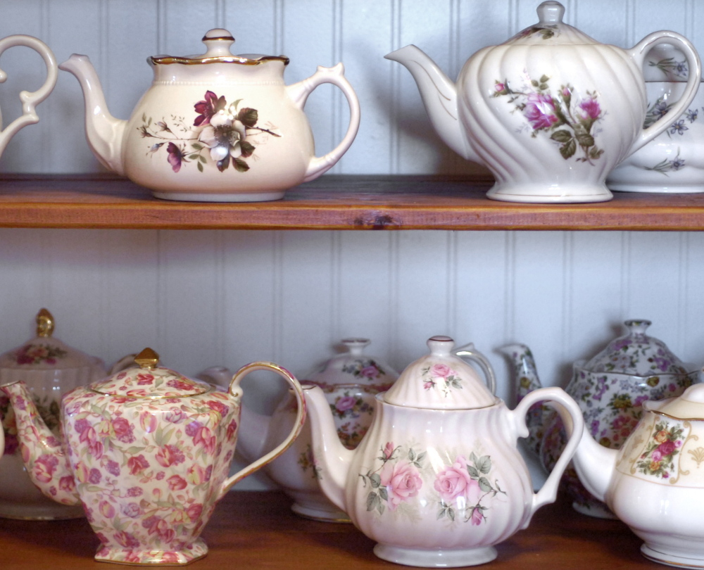 Teapots line the shelves at Jacqueline's Tearoom in Freeport. Owner Jacqueline Soley has  put her tearoom up for sale and she said she'll likely continue to sell her teas online.