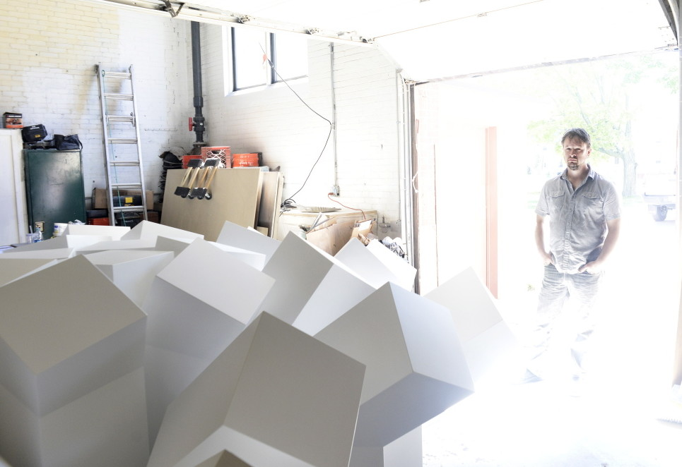 """Aaron T Stephan at his studio. Stephan's installation is the latest in the Portland Museum of Art's """"Circa"""" series, which focuses on contemporary art."""