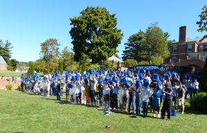 STUDENTS AND FACULTY at Hyde School pour buckets of icy water over their heads Friday for the ALS Ice Bucket Challenge.