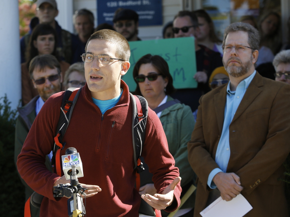 PORTLAND, ME - OCTOBER 6:  Neal Young, a senior with a major in political science and a minor in economics, speaks at a press conference following the announcement of faculty layoffs at the  University of Southern Maine. (Photo by Derek Davis/Staff Photographer)