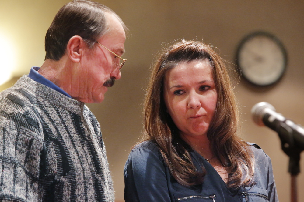 Rita Hillard, right, listens while translating for Vladimir Fisenko during the sentencing hearing for Anthony Pratt, Jr. Fisenko is the father of and Hillard a cousin to Margarita Fisenko Scott, who was killed by Pratt in 2012.