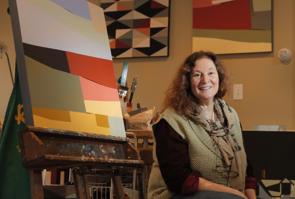 Berri Kramer in her Kennebunkport studio. The artist also is president of Heartwood College of Art, which next month graduates its first master of fine arts class.
