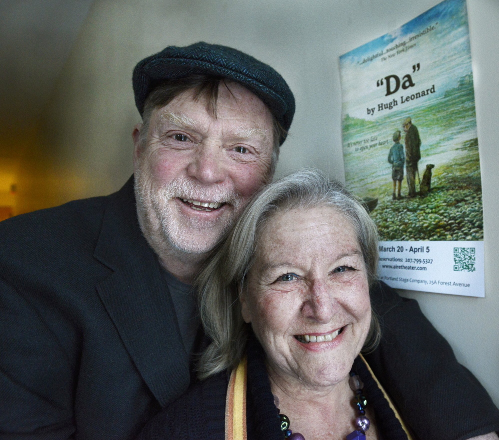"""Tony and Susan Reilly are pictured in a file photo from March 2014, when they were celebrating the opening of a new American Irish Repertory Ensemble production called """"Da."""""""