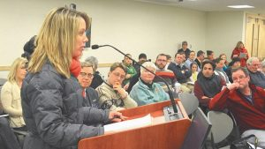 MEG AUSTIN praises the decision to table the move of the fifth grade to Brunswick Junior High School on Wednesday.
