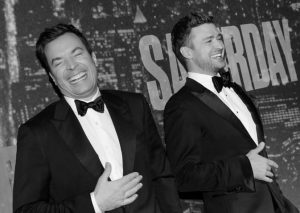 JIMMY FALLON, left, and Justin Timberlake attend the SNL 40th Anniversary Special at Rockefeller Plaza on Sunday, Feb. 15, in New York.