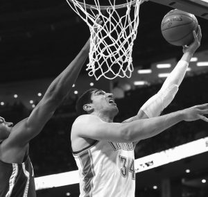 OKLAHOMA CITY THUNDER center Enes Kanter (34) shoots in front of Indiana Pacers center Ian Mahinmi during the first quarter of an NBA basketball game in Oklahoma City on Tuesday. Oklahoma City won, 105-92.