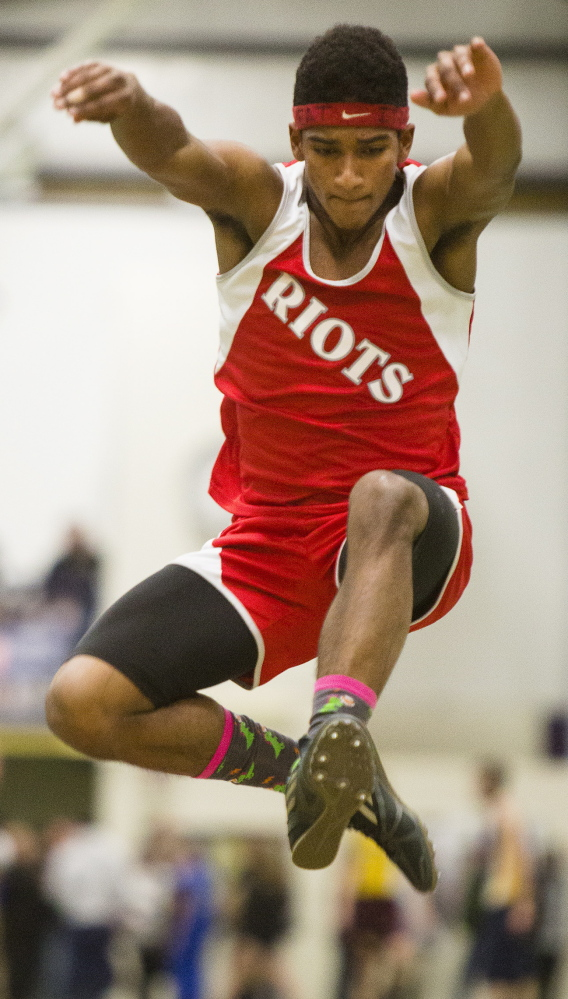 FEB. 16: CLASS A BOYS INDOOR TRACK South Portland's Michael Cuesta won two events – the long jump and triple jump. Cuesta took first place in the long jump with a leap of 21-2  and successfully defended his title in the triple jump with a best of 45-0 .