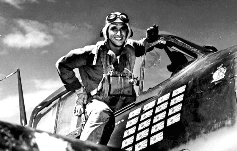 "Lt.(jg) Alexander Vraciu in his F6F after the ""Mission Beyond Darkness,"" Battle of the Philippine Sea, June 20, 1944. U.S. Navy photo"