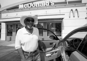 EDWARD COX, 84, comments on the lack of sidewalk cafes, outside a McDonald's restaurant in the Leimert Park neighborhood of Los Angeles Wednesday, March 18. A Los Angeles ordinance designed to curb obesity in low-income areas by restricting the opening of new fast-food restaurants has failed to reduce fast-food consumption or reduce obesity rates in the targeted neighborhoods, according to a new RAND Corporation study.