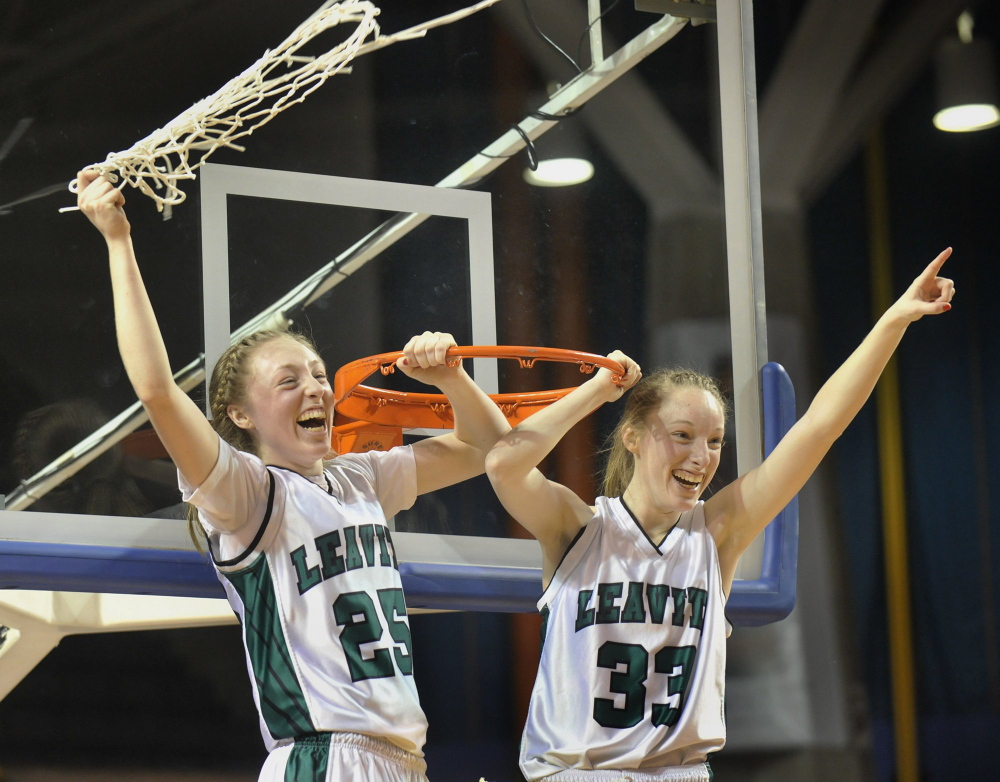 Four years ago, Courtney Anderson, right, and his sister, Kristen, led Leavitt to an unbeaten season and a Class B state title. Now, Courtney's college career is winding down for a UMaine team with NCAA tournament aspirations.