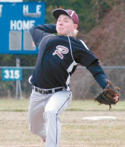 RICHMOND'S BRENDAN EMMONS fires in a pitch during Saturday's Western Maine Class D matchup against North Yarmouth Academy. Emmons, who had seven strikeouts over three innings, and his team topped NYA, 14-4.