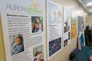 POSTERS ADORN THE WALL of the Aurora Strong Resilience Center, a free counseling center opened in 2013 for local residents who have been affected by trauma, in Aurora, Colo., in this April 22 photo. With theater shooting defendant James Holmes' trial starting Monday, April 27, mental health counselors in Aurora and elsewhere are preparing to help anyone coping with anxiety, flashbacks and other responses to reliving the Aurora theater shootings through testimony and news accounts.