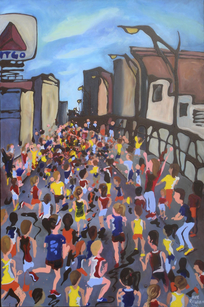 "Runners surge past Boston's iconic Citgo sign as they head toward the Boston Marathon finish in ""The Home Stretch,"" a painting by Hope Phelan."