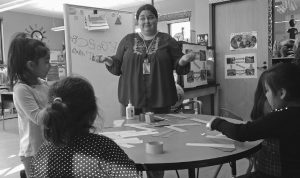 RAINY BRAKE leads an early childhood development class at New Kituwah Academy in Cherokee, N.C. Although not a native speaker or enrolled member of the tribe, Brake is helping to ensure that the Cherokee language remains a living one.
