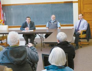 FROM LEFT, former legislator Seth Berry, Rep. Brian Hobart, R-Bowdoinham, and Rep. Mark Eves, Speaker of the House of Representatives, D-North Berwick, listen to questions and ideas from residents during the forum held by Eves on his Keep ME Home initiative.