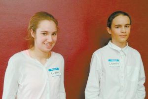 ELINORE KOSAK of Brunswick, left, and Lisandro Berry- Gaviria of Bowdoinham both competed at the Maine State Geography Bee last month. Berry-Gaviria finished in fourth place.