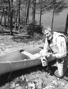 THIS PHOTO SHOWS Glenn Adams on Pleasant Pond in Richmond, which flows into the Kennebec River. Adams canoed, kayaked and motorboated the Kennebec, following the trail of Benedict Arnold's 1775 expedition to Quebec, Canada. But Adams did the trip in the opposite direction using the river's natural north-to-south flow.