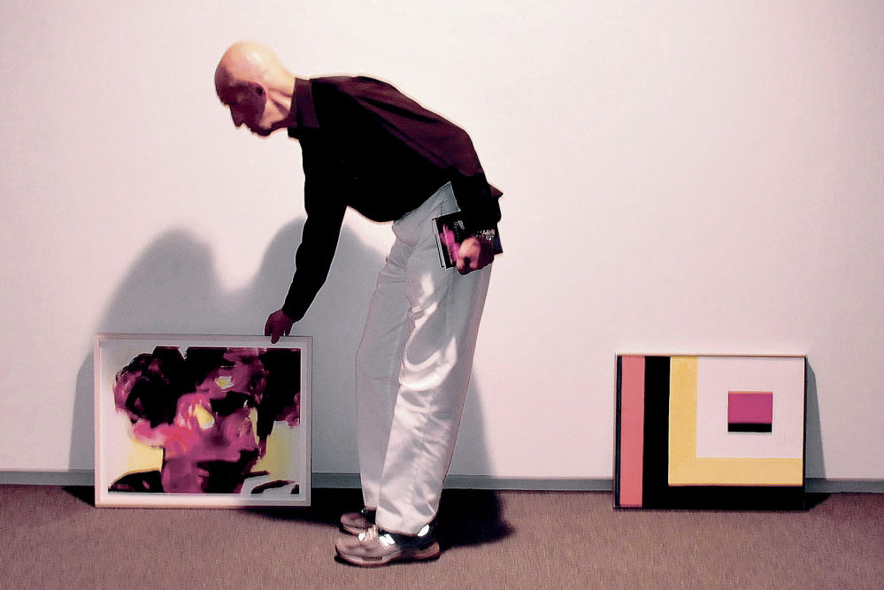 """Alex Katz arranges works for """"An Artist's Gift"""" at the Colby College Museum of Art in Waterville."""