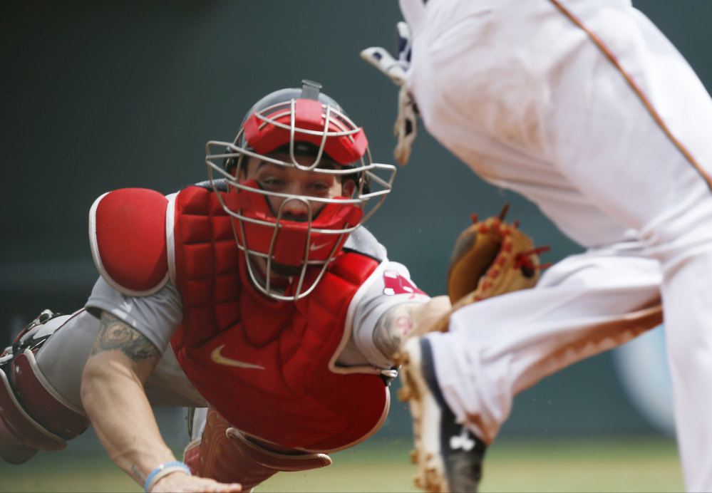 Boston catcher Blake Swihart is one of the young players who are giving Red Sox fans something to hope for next season. The Associated Press