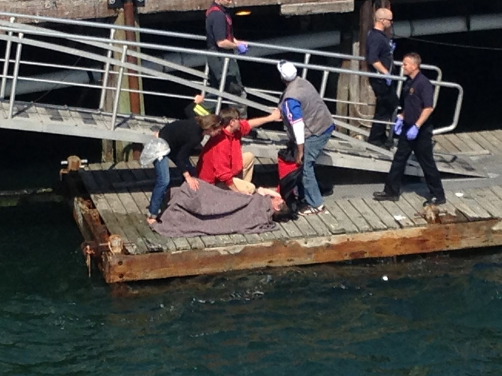 Rescue personnel tend to a man who fell off a dock at the Maine State Pier in Portland on Wednesday. John Tracy, a Casco Bay Lines captain, dove into the water to help the man to the dock.