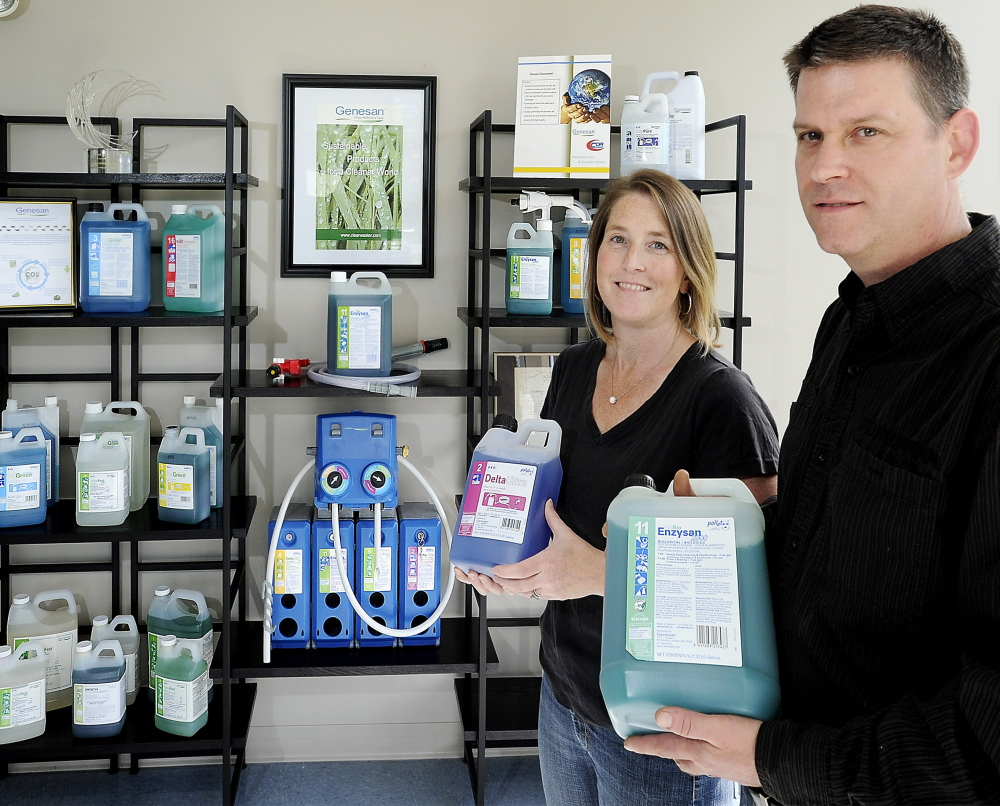 Genesan LLC specialist Meghan White and Vice President of Operations Josh White display products made from nontoxic bases.