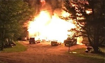 The homeowner of 16 Liberty Acres Drive in Arundel took this photo of Sunday night's fire. Courtesy WCSH