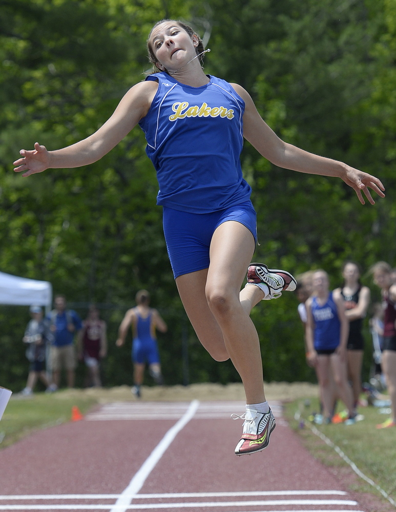 Kate Hall of Lake Region did what no other high school girl has done in this country: beat the 39-year-old record in the long jump. She did it in her final jump at the national championships.