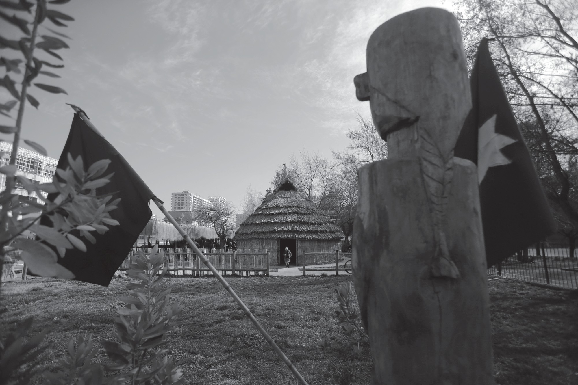 In this July 29 photo, a ruka, or a traditional Mapuche thatched home stands between modern buildings next to the Barros Luco hospital, in Santiago, Chile.
