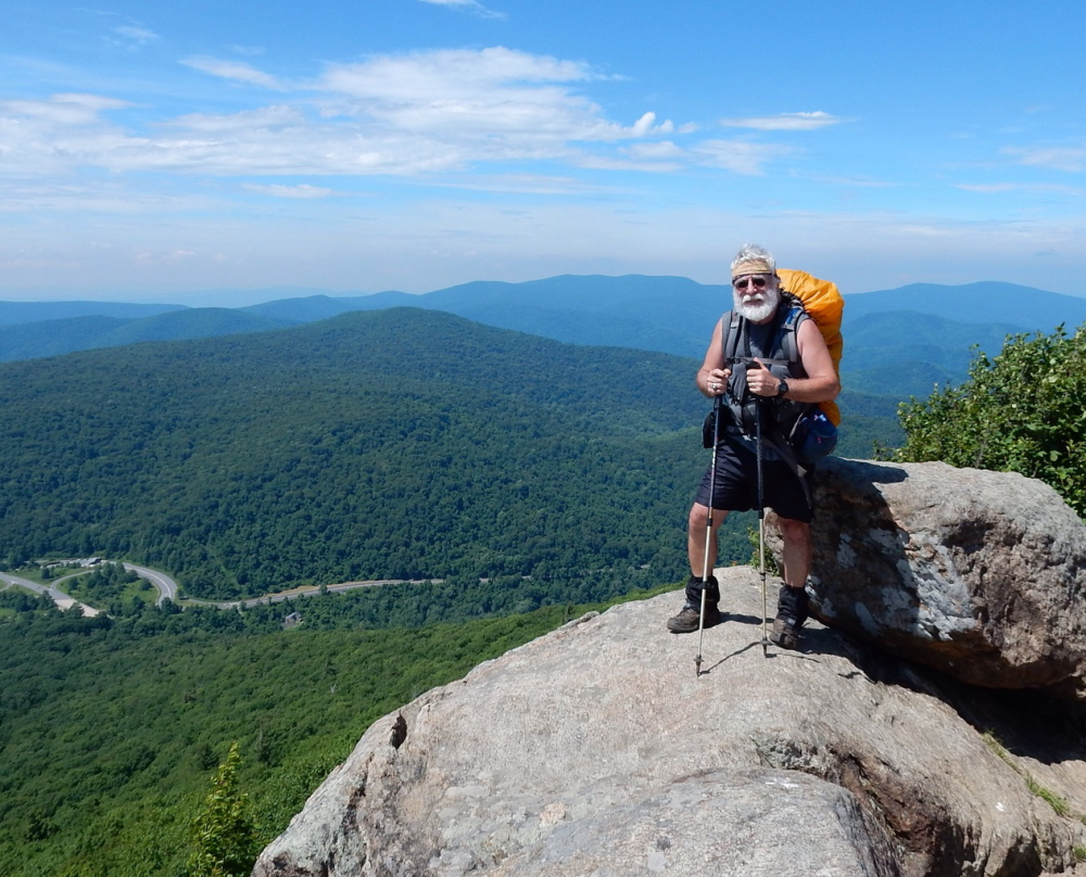 Carey Kish stands atop Mary's Rock, overlooking Thornton Gap in Shenandoah National Park. The 79,600-acre park rests between the Shenandoah Valley and the Virginia Piedmont.