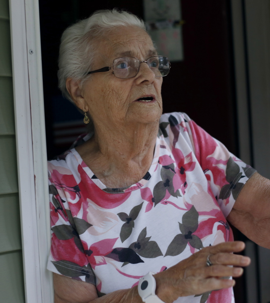 Marie Ouellette, 89, a resident of Kallock Terrace in Saco, speaks about Connor MacCalister who was living with his brother at the apartment complex. Derek Davis/Staff Photographer