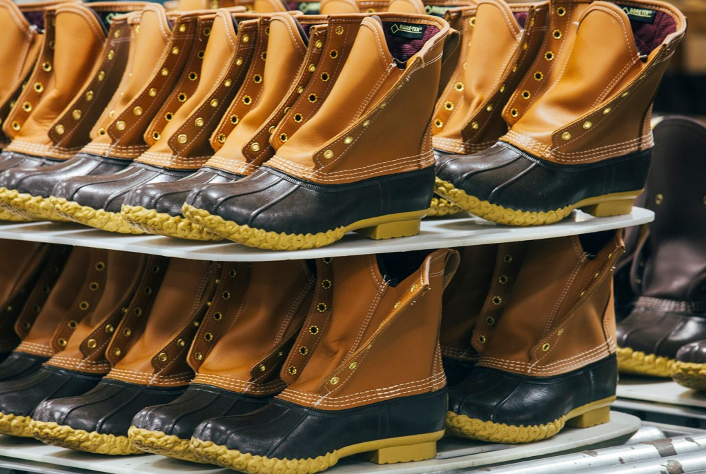 L.L. Bean boots await further packaging after their rubber soles were top-stitched to the leather.