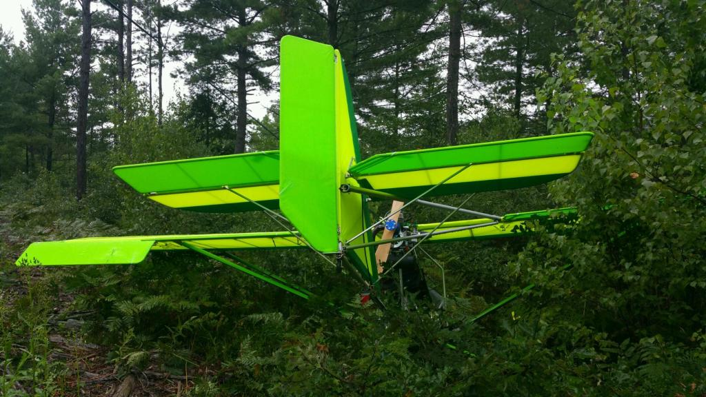 An Aerolite 103 single-seat ultralight aircraft crashed in a wooded area in Fryeburg on Sunday. The pilot was not injured. Fryeburg Police Department photo